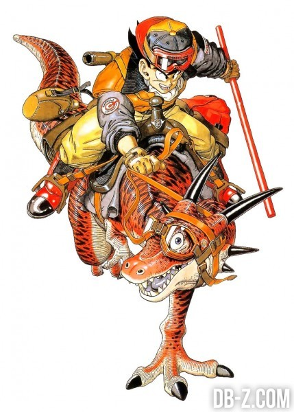 Goku sur dinosaure