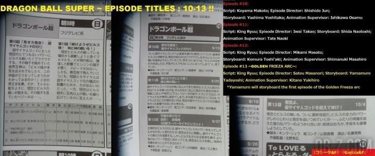 Dragon Ball Super : Titres des épisodes 10 / 11 / 12 / 13