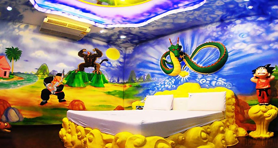 Cet h tel propose une chambre dragon ball for Decoration murale dragon ball