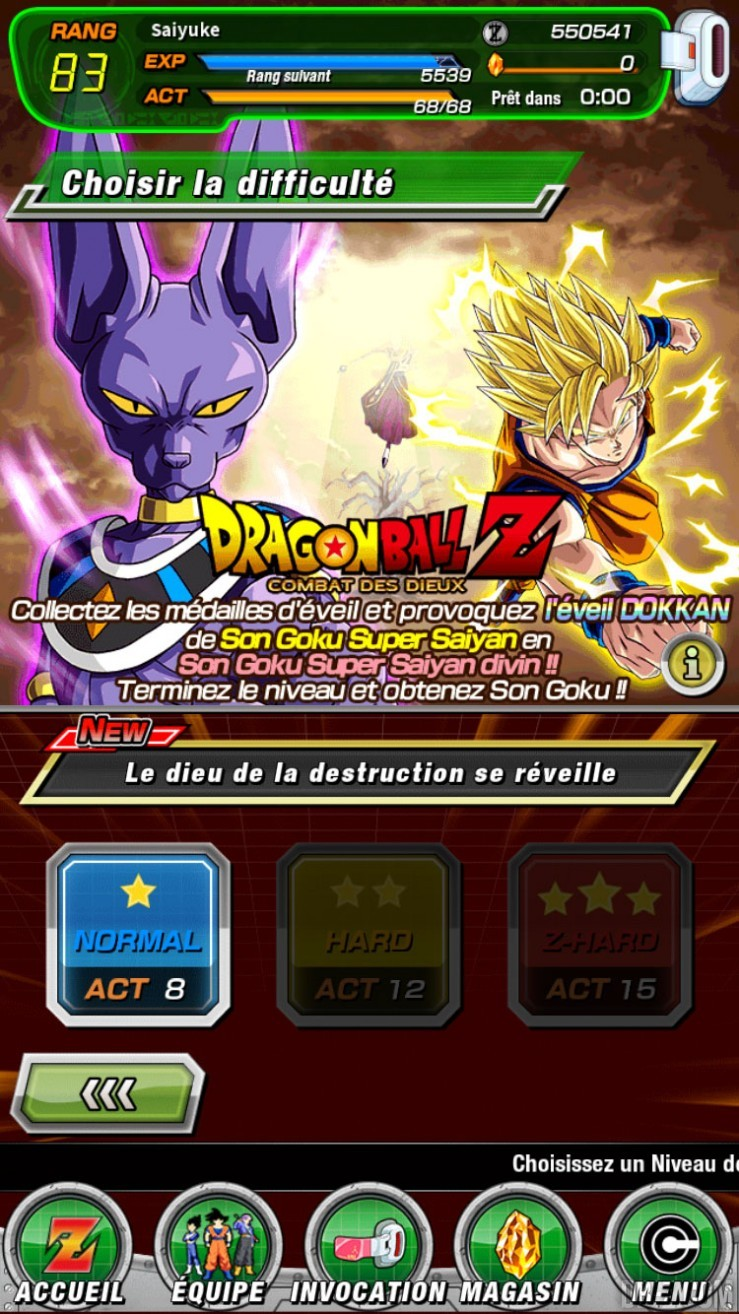 DBZ Dokkan Battle : Histoire Combat des Dieux