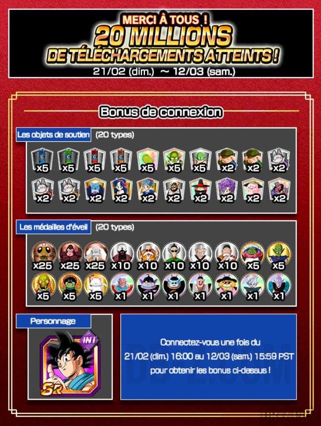 Bonus de Connexion pour les 20 Millions de Dokkan Battle