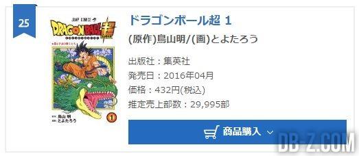 Classement Manga Dragon Ball Super Vol 1