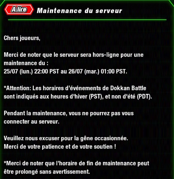 DBZ Dokkan Battle : Maintenance des 80 millions