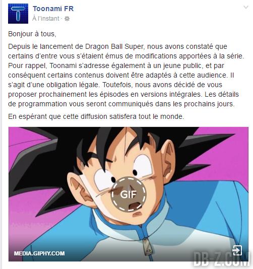 Toonami annonce une version non-censurée de Dragon Ball Super