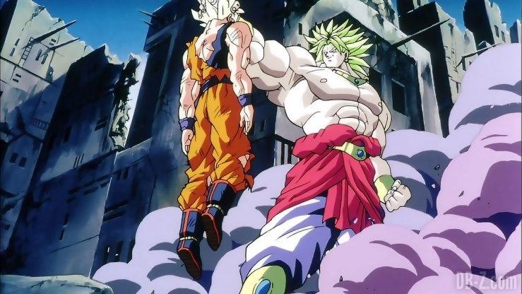 Broly tient Goku dans sa main