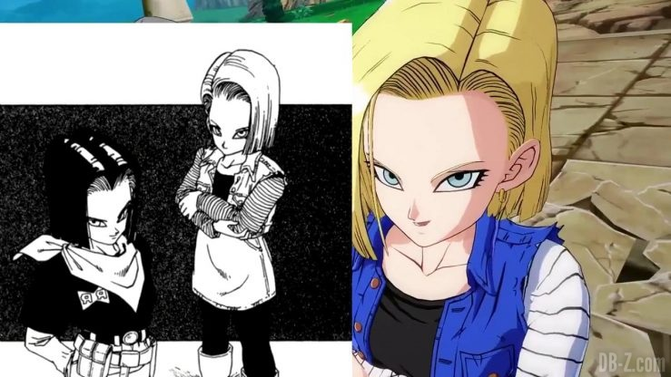 DBFighterZ Android 17 18 comparaison manga anime 47