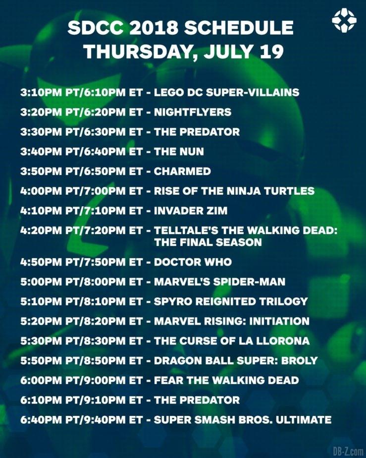 Programme de la Comic Con San Diego du 19 juillet