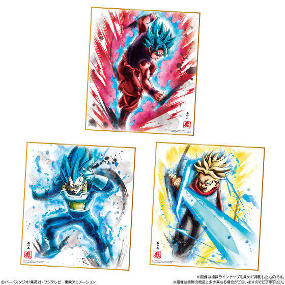 Dragon Ball Shikishi Art 6 - Goku SSGSS Kaioken, Vegeta, Trunks