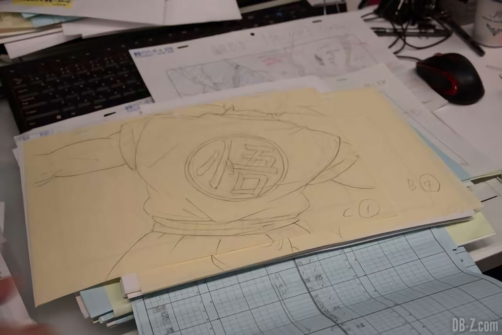 Croquis de Goku (dos) pour le film Dragon Ball Super Broly
