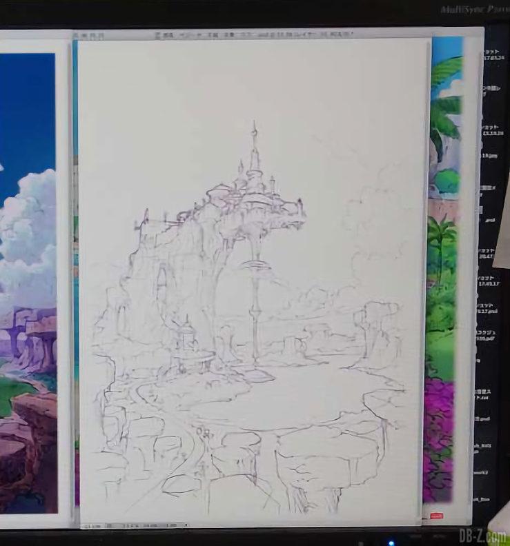 Croquis du Palais du Roi Vegeta - Film Dragon Ball Super Broly