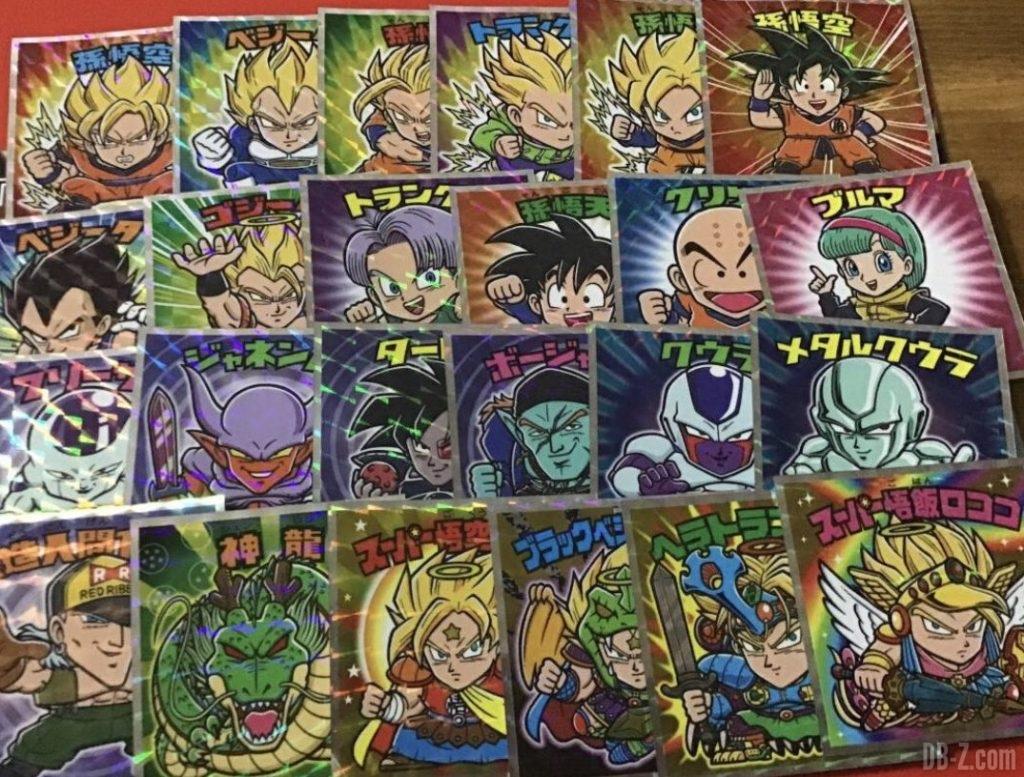 24 vignettes des Dragon Ball Man Choco Z