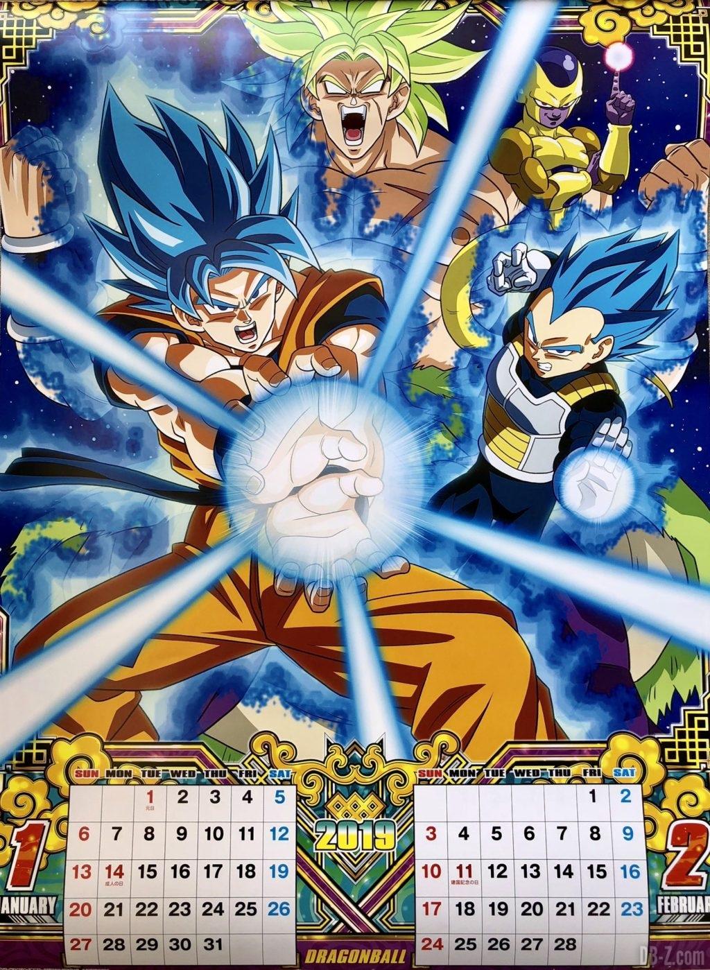 Calendrier Dragon Ball 2019 Japon - Janvier Février