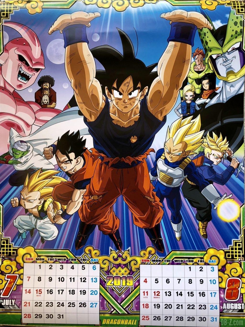 Calendrier Dragon Ball 2019 Japon - Juillet Août