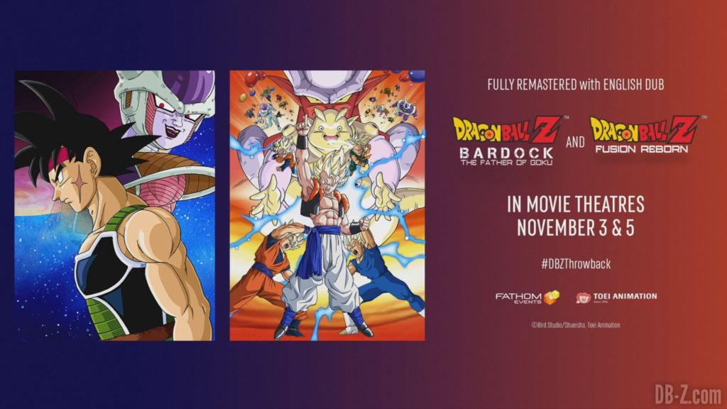 Dragon Ball Z Bardock et Fusions remasterisés en anglais au cinéma