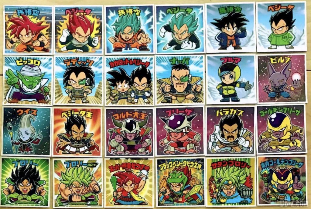 24 vignettes des Dragon Ball Man Choco Super