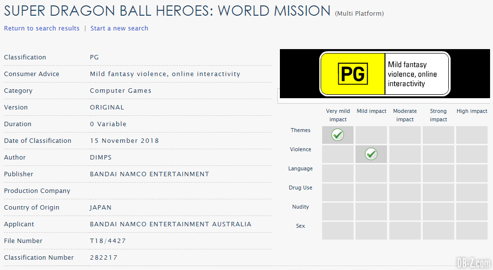 Super Dragon Ball Heroes World Mission en Australie