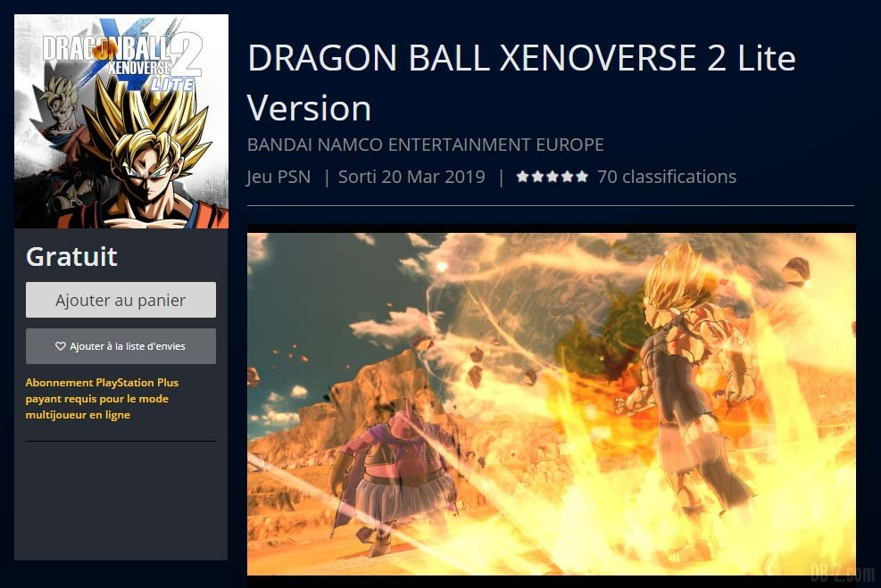 Dragon Ball Xenoverse 2 Lite PlaystationStore