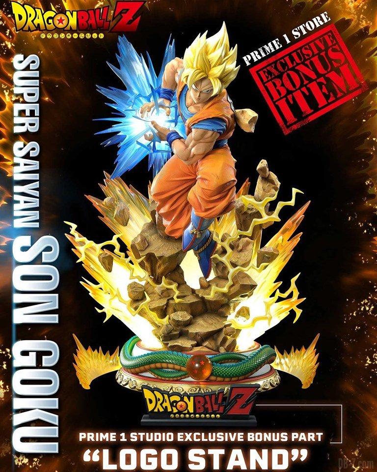 Mega Premium Masterline Dragon Ball Z Son Goku Super Saiyan Logo Stand Bonus