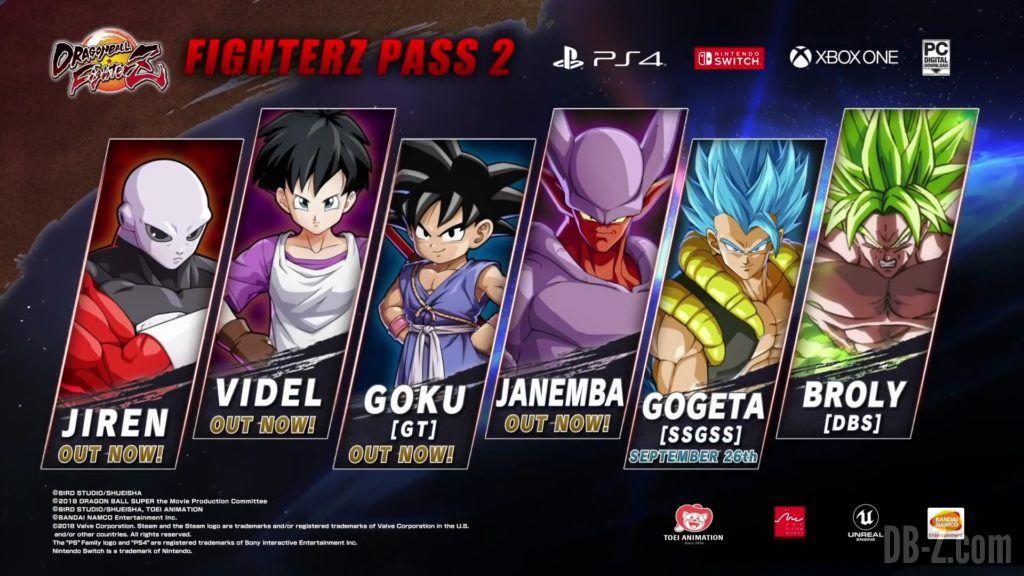 Dragon Ball FighterZ Liste DLC Season Pass 2