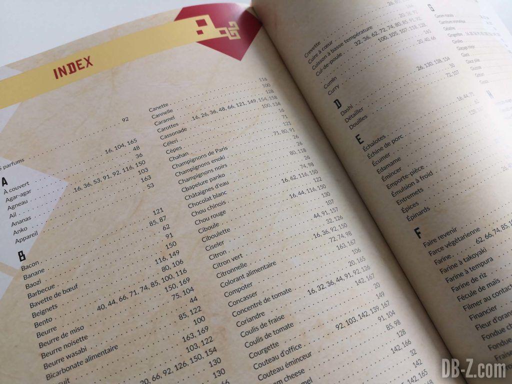 Index livre Les recettes légendaires de Dragon Ball Glénat 16