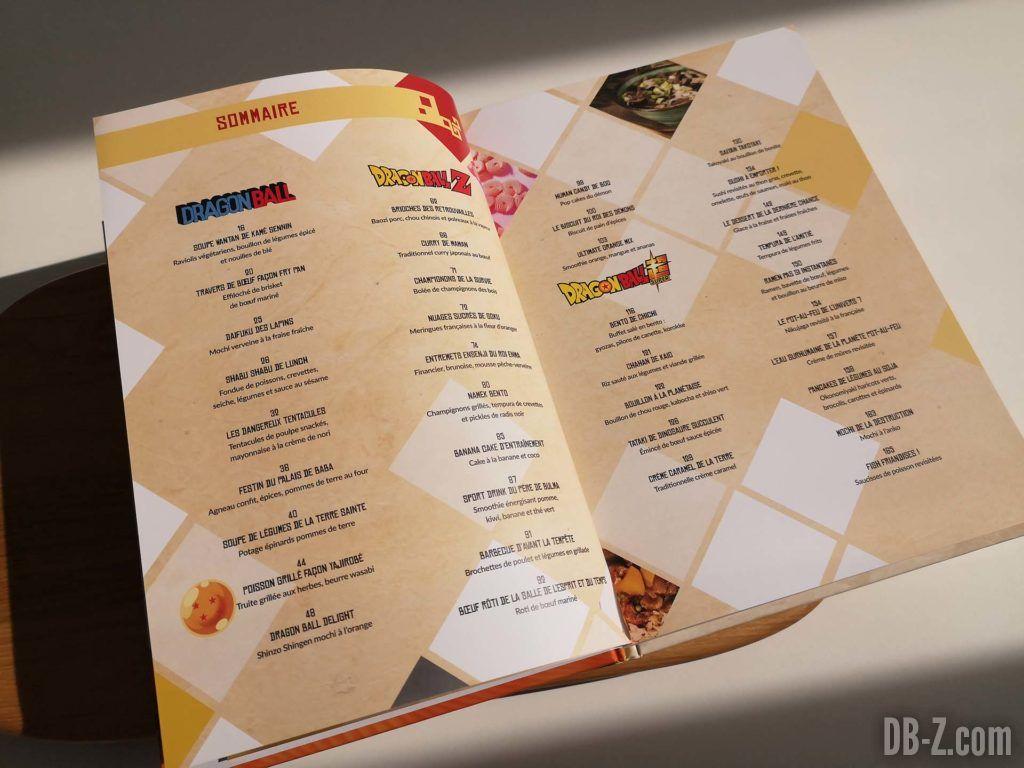 Sommaire livre Les recettes légendaires de Dragon Ball Glénat 01
