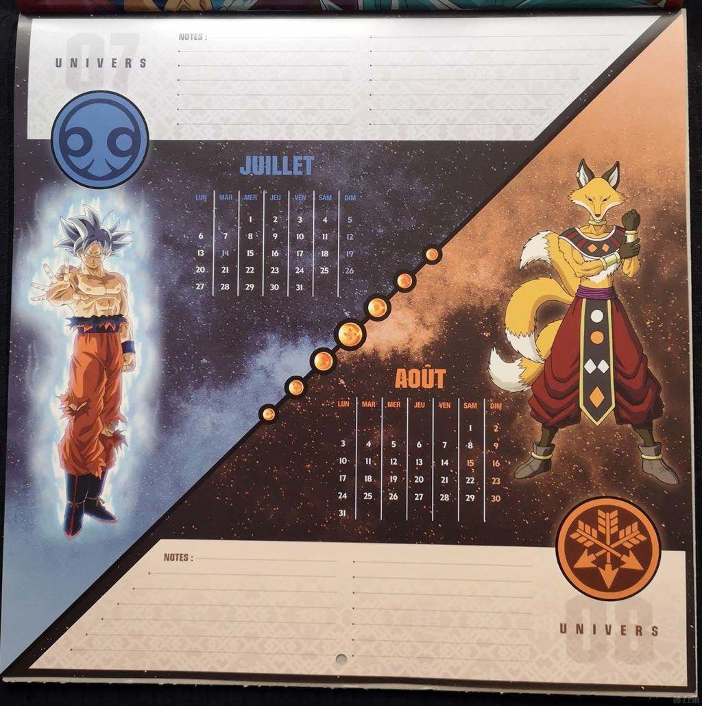 Calendrier Dragon Ball Super Juillet Août 2020 bis