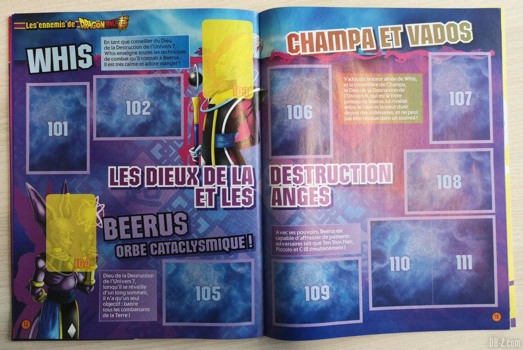 Album Panini Dragon Ball Super 2 Whis Champa et Vados