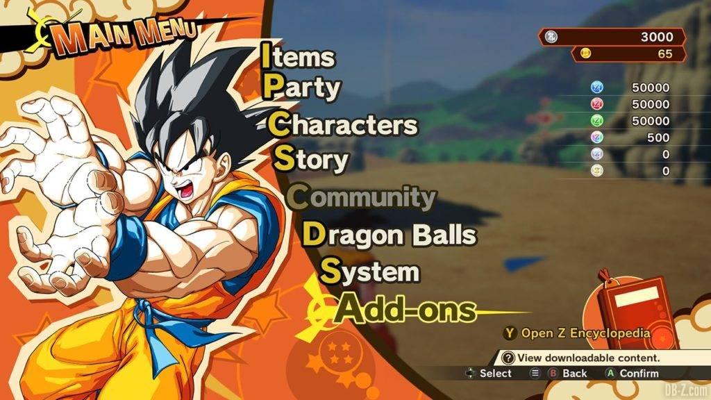 Dragon Ball Z Kakarot DBZK VJUMP Game Menu.png