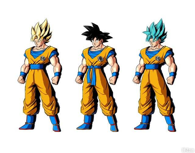3 couleurs de Goku poiur le Goku Day dans DB FighterZ
