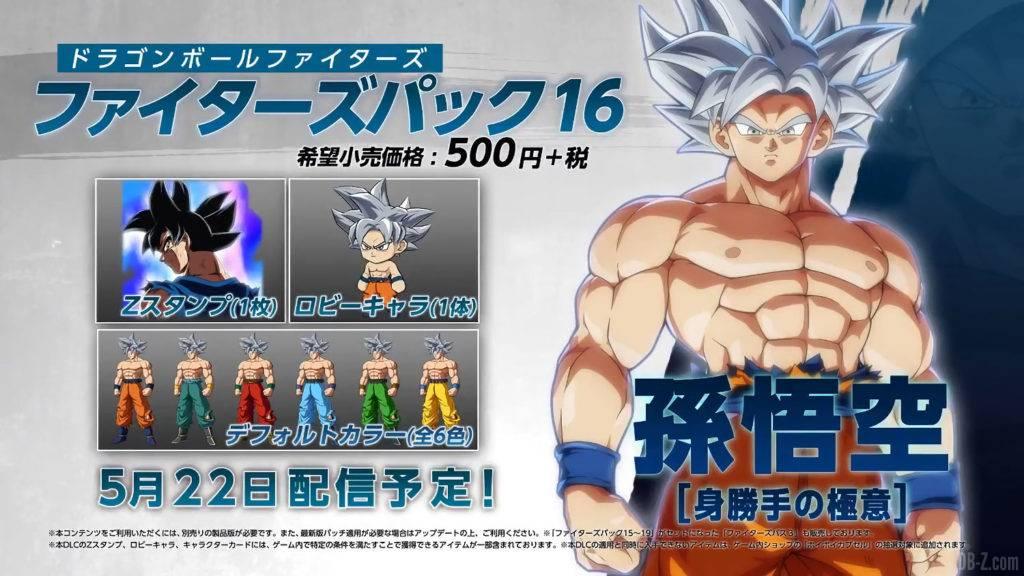 DLC Goku ultra instinct dans Dragon Ball FighterZ
