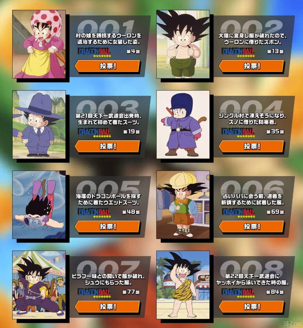Vote Kakarot Collection Goku Day 2020 partie 1