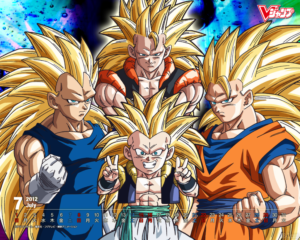 Calendrier V Jump Goku Gogeta Vegeta Super Saiyan 3