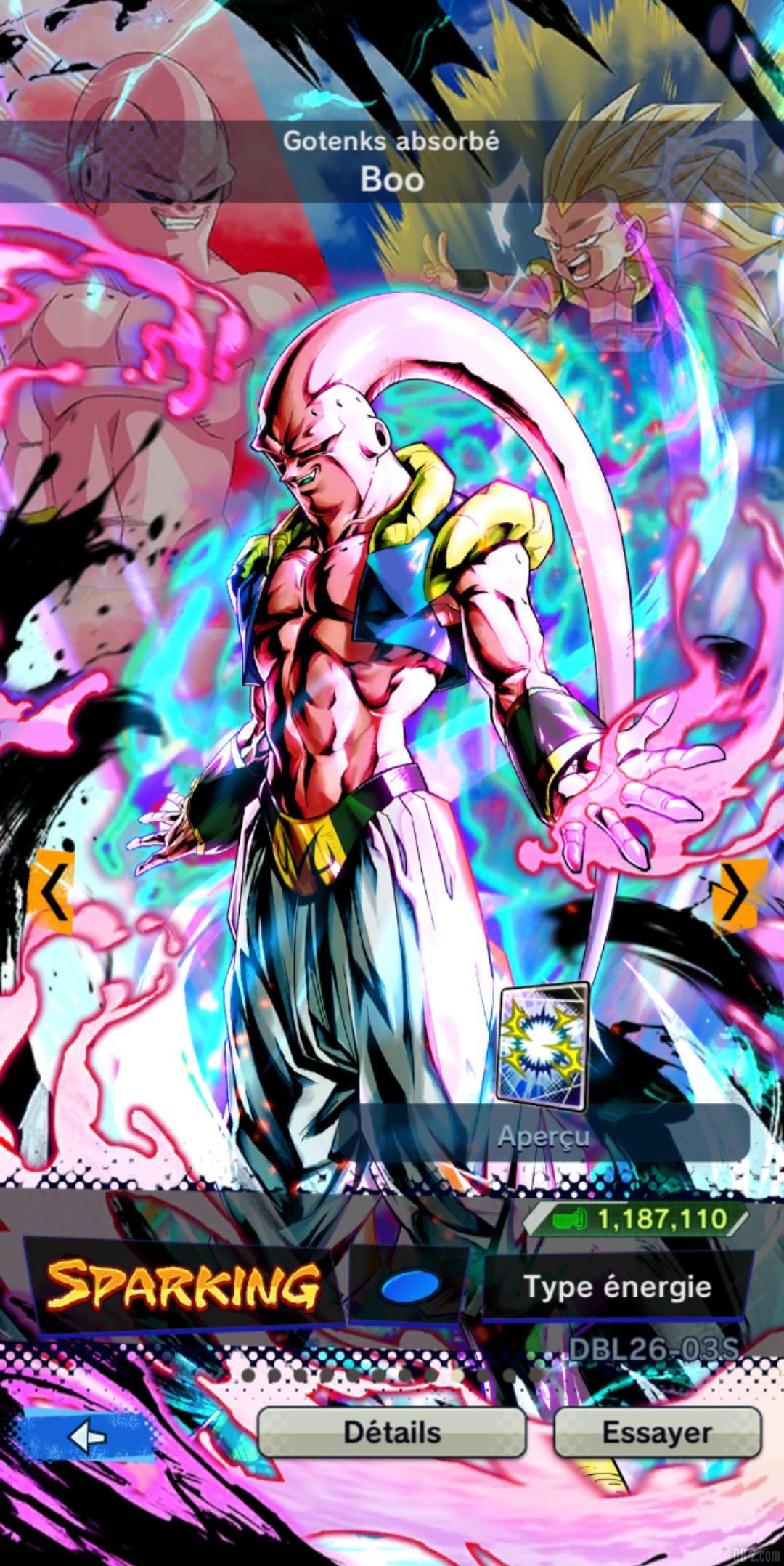 Dragon Ball Legends Boo Gotenks absorbe BLEU Type energie