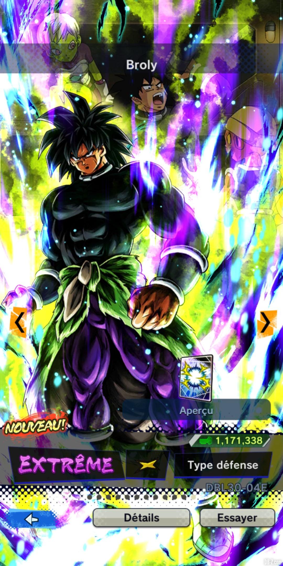 Dragon Ball Legends Broly JAUNE Defense