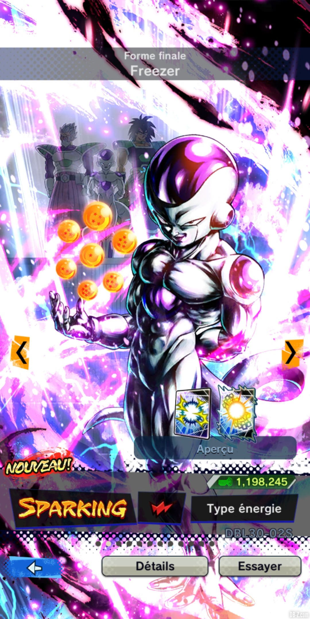 Dragon Ball Legends Freezer ROUGE Energie