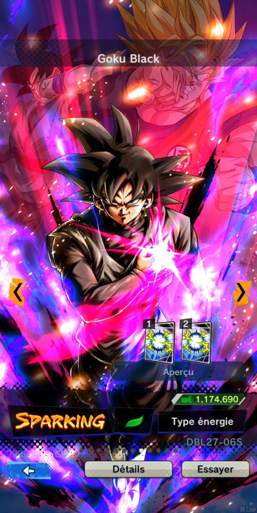 Dragon Ball Legends Goku Black VERT Energie