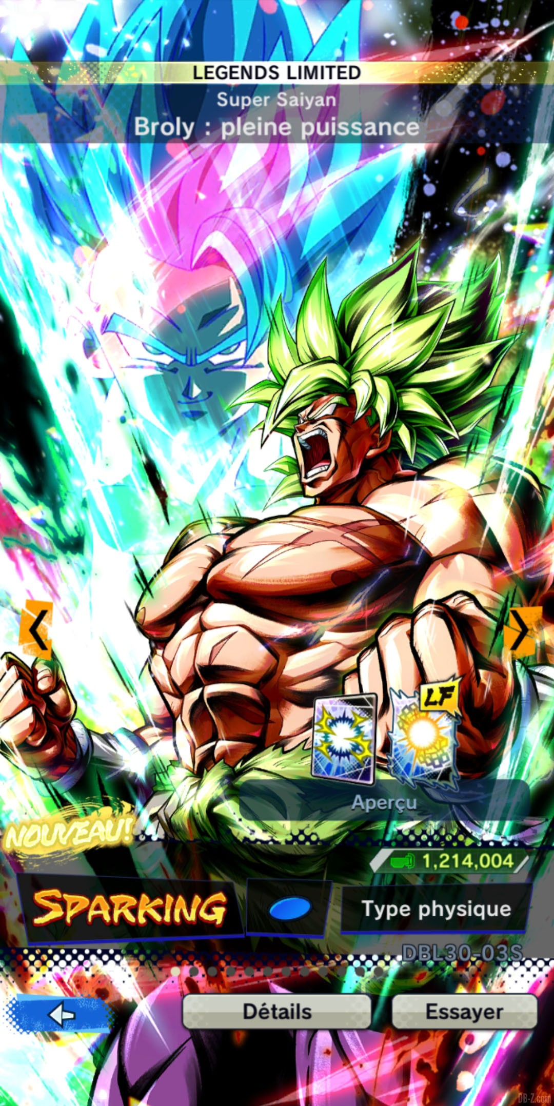 Dragon Ball Legends Limited Broly Super Saiyan Full Power BLEU Physique