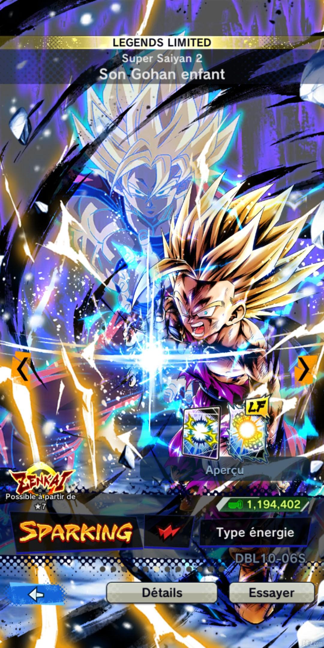 Dragon Ball Legends Limited Gohan Super Saiyan 2 ROUGE Energie