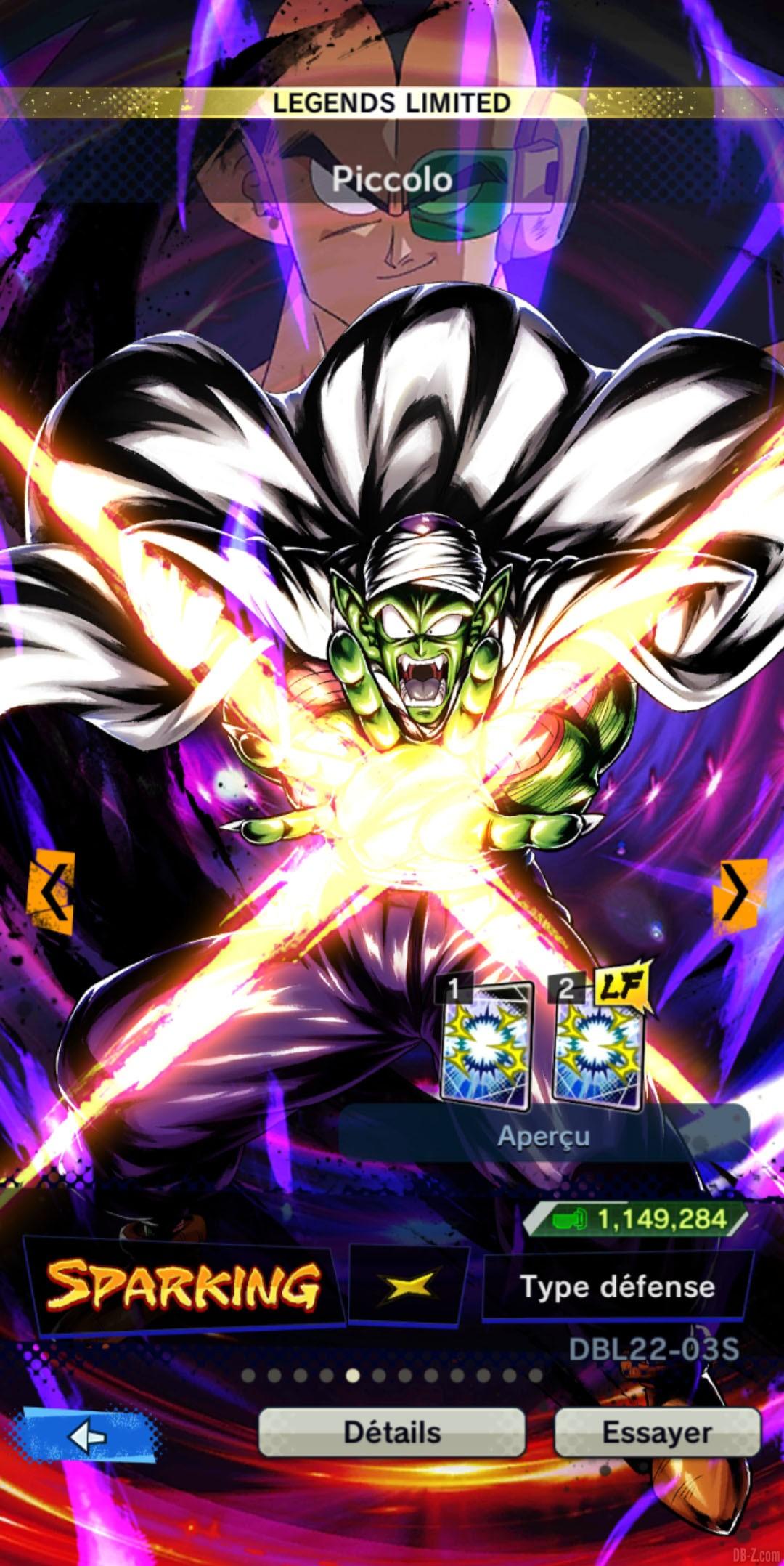 Dragon Ball Legends Limited Piccolo JAUNE Defense