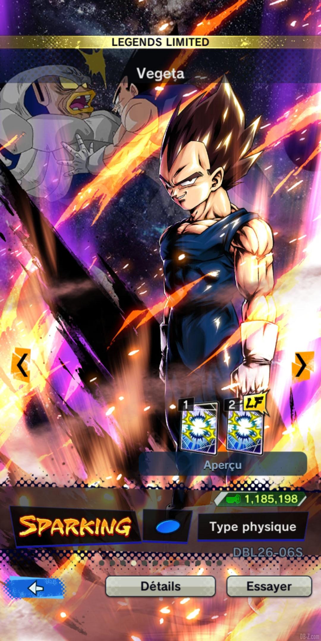Dragon Ball Legends Limited Vegeta BLEU Physique