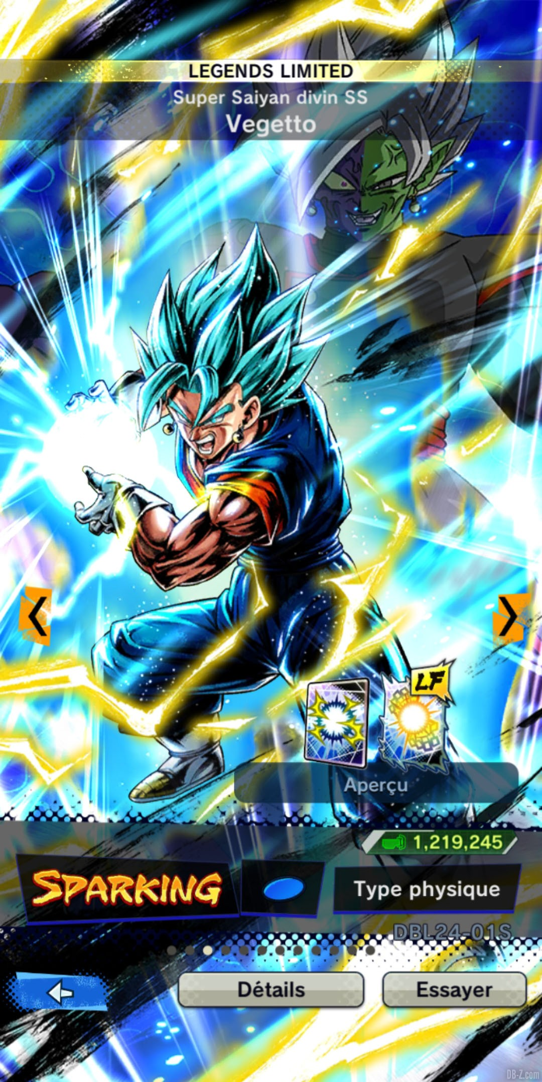 Dragon Ball Legends Limited Vegetto Super Saiyan Blue BLEU Physique