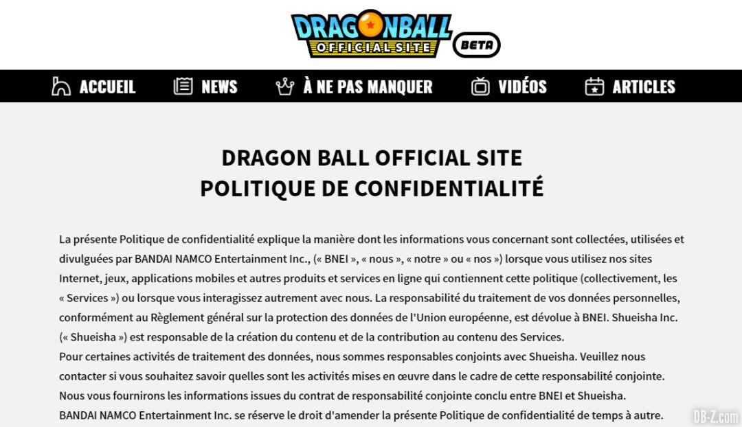 Site officiel Dragon Ball