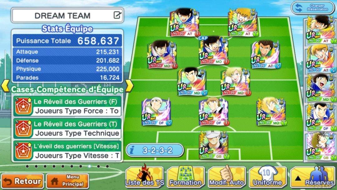 Captain Tsubasa Dream Team Composition Equipe