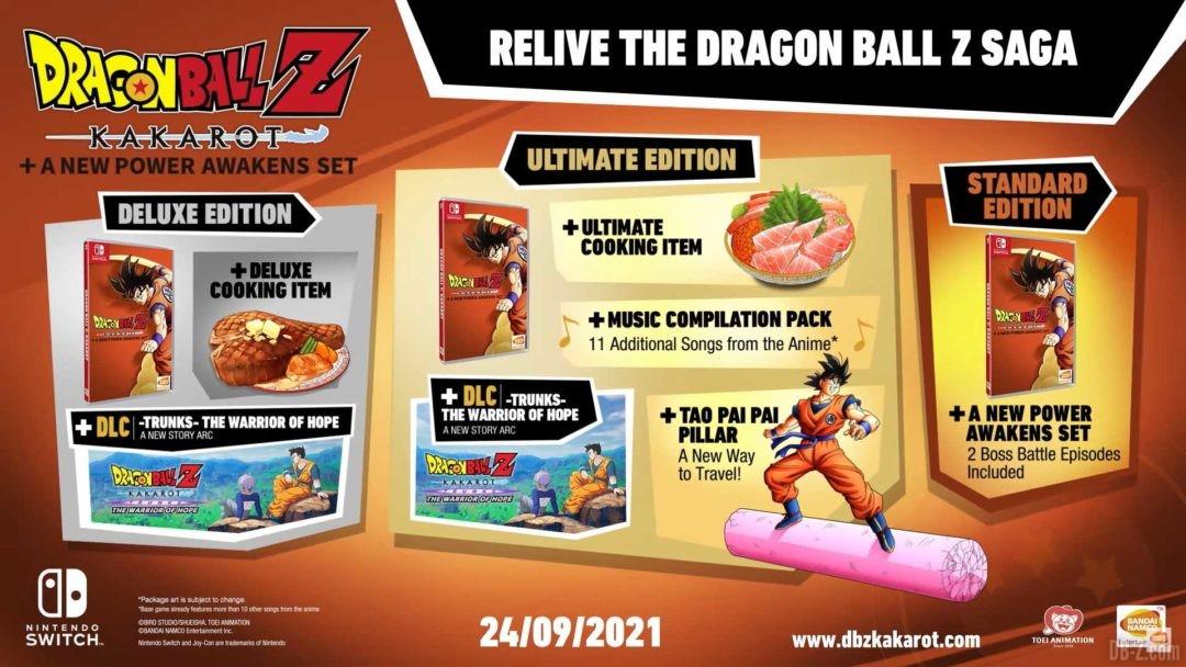 Dragon Ball Z Kakarot Switch Toutes les editions